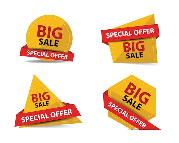 Red and yellow shopping sale banners