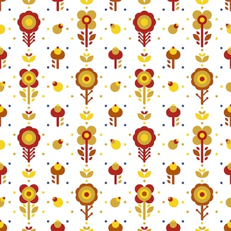 Red yellow simple floral folk seamless pattern