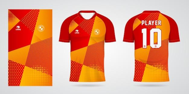 Красно-желтый шаблон спортивной майки для командной формы и футболки