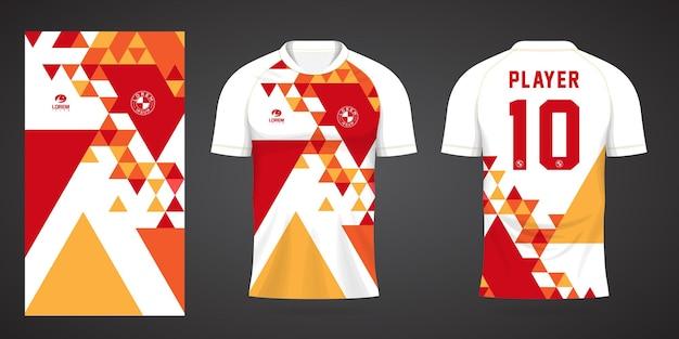 팀 유니폼 및 축구 티셔츠 디자인을 위한 빨간색 노란색 스포츠 저지 템플릿