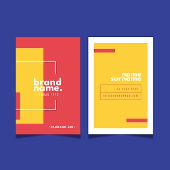 Red and yellow visit business card