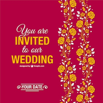 Red and yellow wedding invitation with flowers