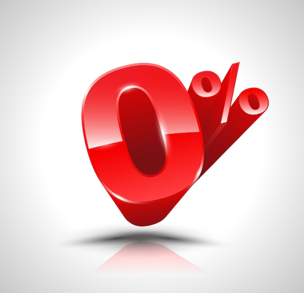 Red zero percent or 0 % isolated