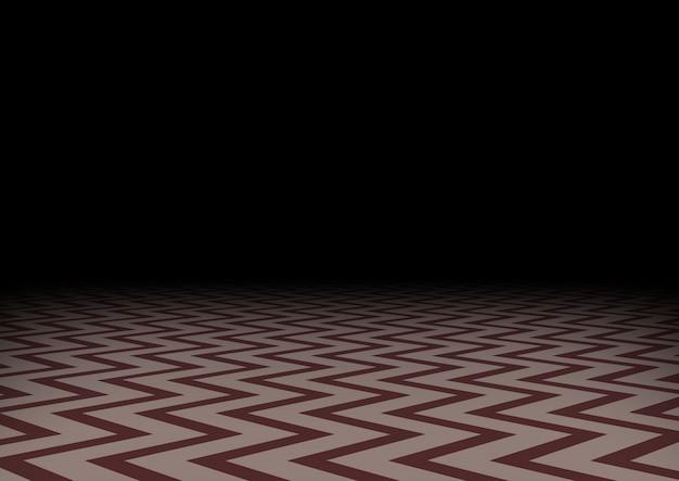 暗闇の中で赤いジグザグの床。水平の抽象的な暗い背景。神秘的な部屋、イラスト。