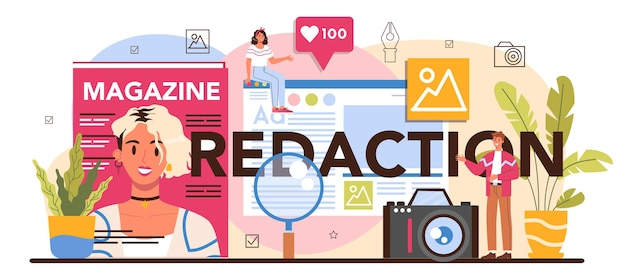 Redaction typographic header. journalist and designer working on magazine article and photo. magazine editing, content selection, release plan and promotion. isolated flat vector illustration