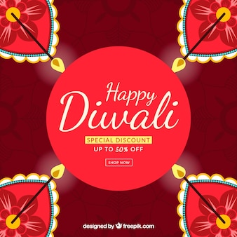 Reddish background with offer diwali candles