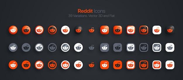 Набор иконок reddit современный 3d и плоский в разных вариациях