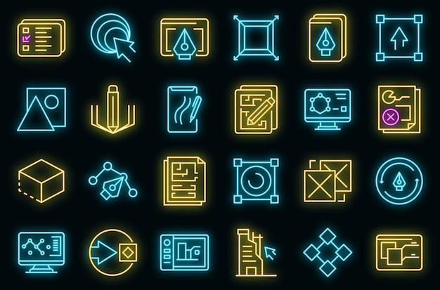 Набор иконок редизайн вектор неон