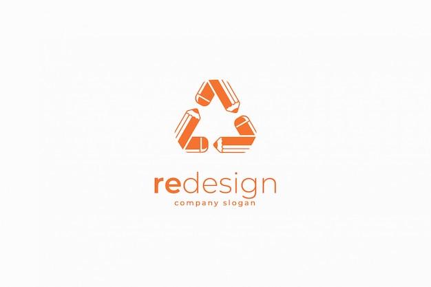 Редизайн шаблона логотипа карандаша