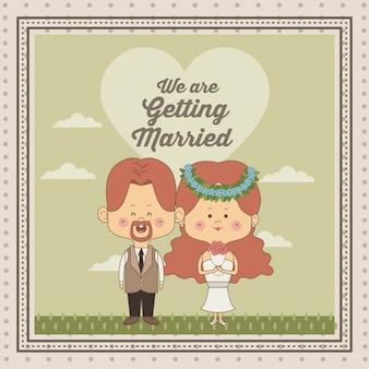 Декоративная рамка только что женился пара невесты и жениха с redhair