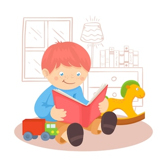 Redhead boy reading book indoors with toys and window vector illustration