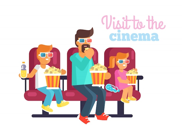 Redhead daughter, teen son and dad in glasses watching an interesting film together