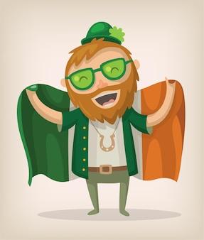 A redhead man with a beard waving irish flag celebrating st patricks day.