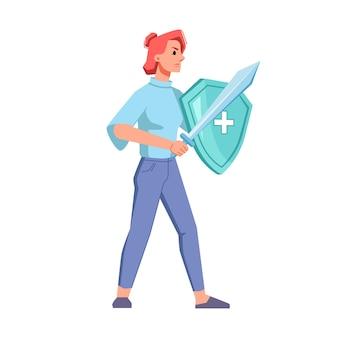 医療用盾と剣を持った赤毛の女性がコロナウイルス病と戦う。レディ