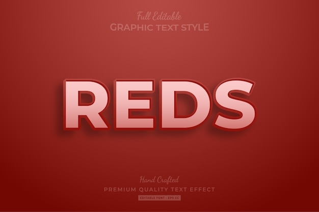 Reds clean editable text style effect