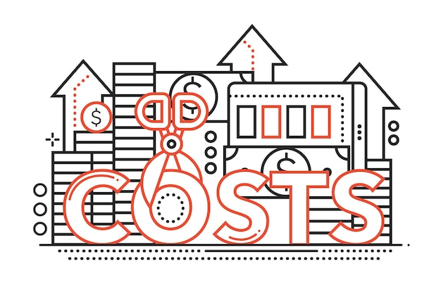Reduce costs - vector modern line flat design illustration with coin stacks, dollar bills, scissors cutting the word costs