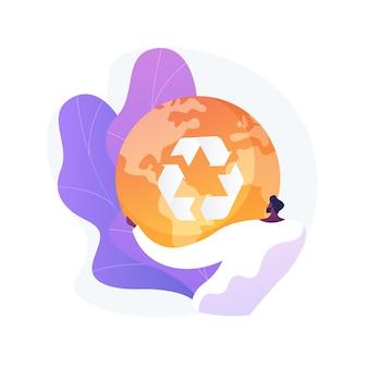 再利用を減らすリサイクルの抽象的な概念図。廃棄物管理、アップサイクリングプログラム、消費量の削減、古い商品の再利用、材料のリサイクル、新しいものの購入の拒否