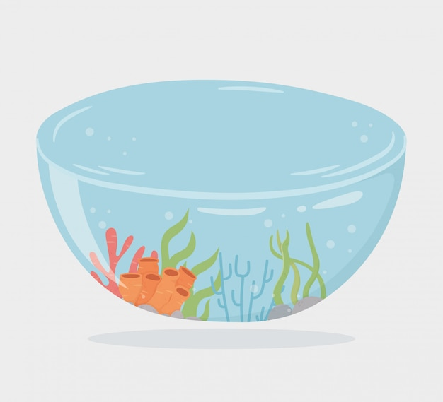 Reef water shaped bowl for fishes under sea cartoon vector illustration
