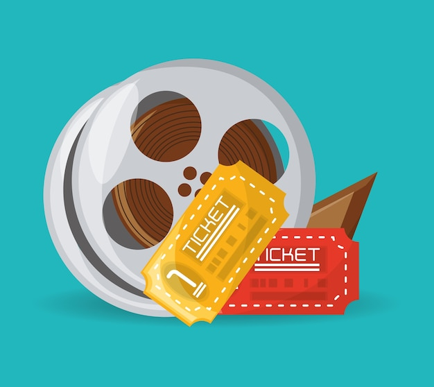 Reel filmstrip with tickets to short film