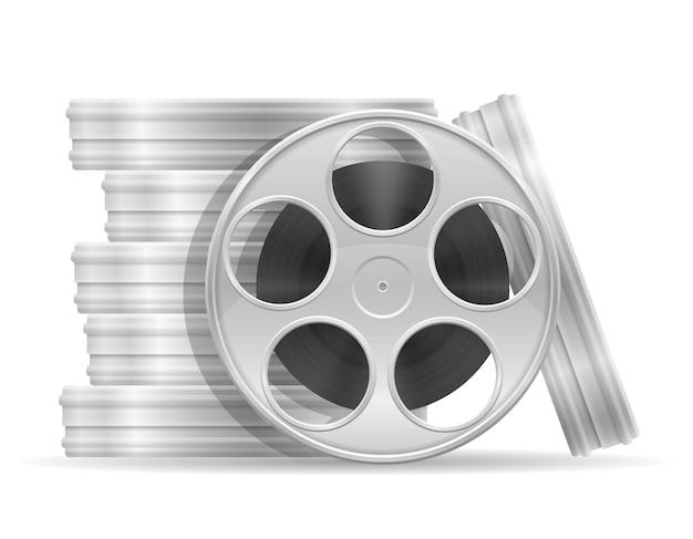 Катушка с иллюстрацией кинофильма, изолированной на белом