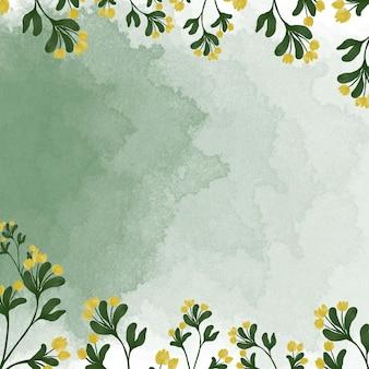 黄色の野花の境界線とreenスプラッシュ水彩背景