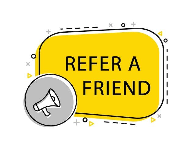 확성기와 노트북으로 친구 배너를 참조하십시오. 광고, 마케팅.