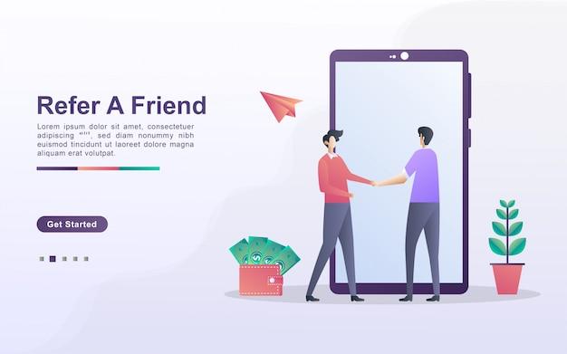 친구 개념을 참조하십시오. 제휴 파트너십 및 수익 창출. 마케팅 전략. 추천 프로그램 및 소셜 미디어 마케팅. 웹 방문 페이지, 배너, 모바일 앱에 사용할 수 있습니다. 프리미엄 벡터