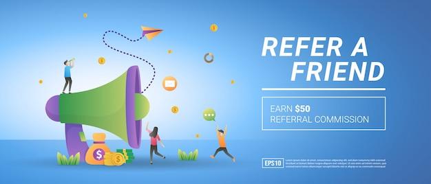 Приведи в друзья концепцию. заработайте реферальную комиссию, обратитесь к клиенту. программы вознаграждений и маркетинга.