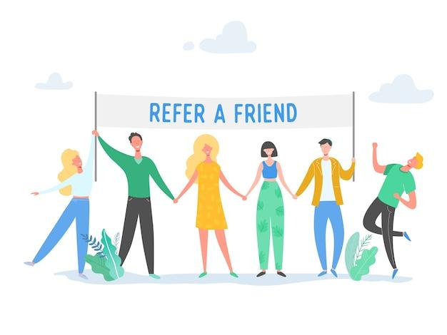 Пришлите другу концепцию с баннером и деловым персонажем, держащим знак, улыбающийся мужчина и женщина. дружба, лидерство, бизнес-команда, концепция социального разнообразия