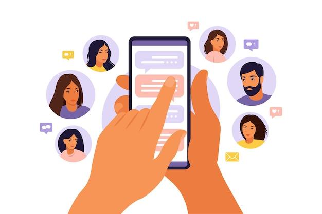 友達の連絡先のリストで電話を持っている漫画の手で友達の概念を参照してください。紹介マーケティング戦略バナー、ランディングページテンプレート、ui、ウェブ、モバイルアプリ、ポスター、バナー、チラシ。