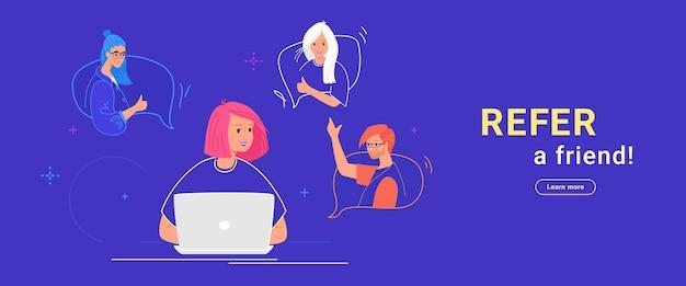 Пригласите друга плоскую векторную иллюстрацию счастливой женщины-подростка, использующей ноутбук, чтобы пригласить друзей для сообщества или социальных сетей. молодые подростки в речевых пузырях жестикулируют и счастливы присоединиться к команде