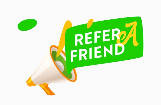 メガホンと吹き出し付きの友達プロモーションバナーを参照してください。マーケティング広告アラート、顧客向け紹介プログラム