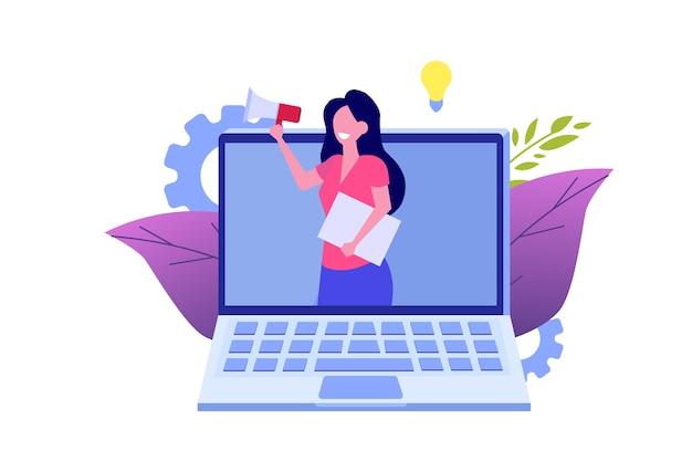 友人、紹介ネットワークマーケティングを紹介します。友達にお勧め。紹介コードを共有する女性はメガホンで叫ぶ。