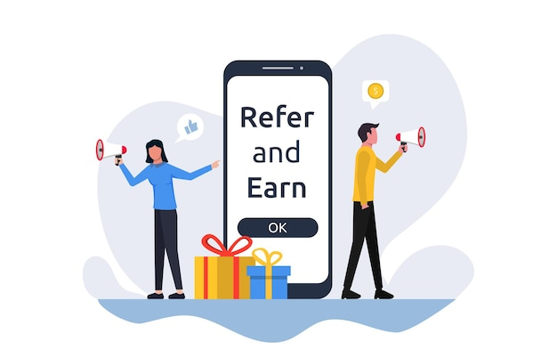 Refer and earn concept. business partnership strategy vector illustration