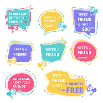 Refer friend badges. abstract graphic geometrical promotional emblem business friendly  concept.