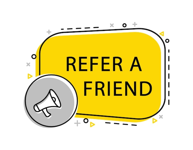 Refer a friend banner with megaphone and laptop. advertising, marketing.