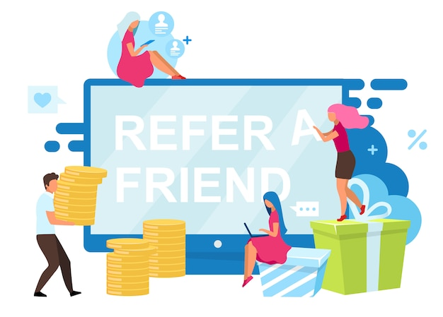 Refer a friend bonuses   illustration. customer attraction strategy.