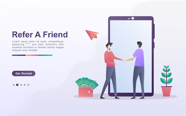 Refer a friend concept. affiliate partnership and earn money. marketing strategy. referral program and social media marketing. can use for web landing page, banner, mobile app.