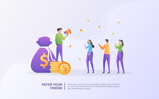 Refer a friend concept. affiliate partnership and earn money. marketing strategy. referral program and social media marketing.