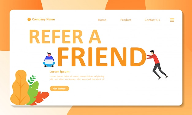 Refer a friend concept design can use for web landing page