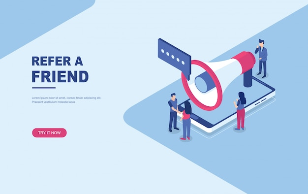 Refer a friend concept isometric landing page web template