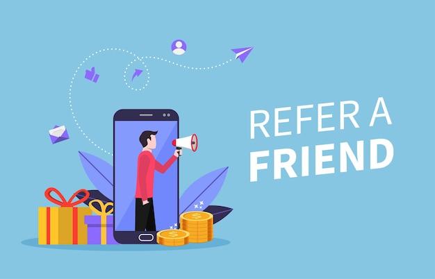 Refer a friend concept. man holding megaphone symbol illustration