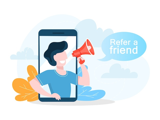 Refer a friend concept. man make promotion