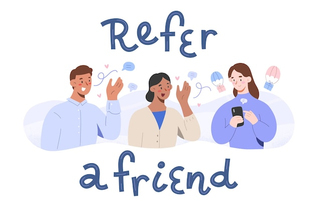 Refer a friend concept, people sharing their affiliate links getting rewards