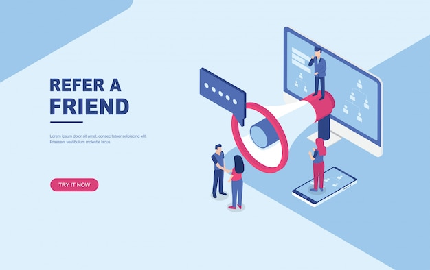 Refer a friend concept, people shout on megaphone