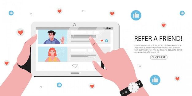 Refer a friend concept. refferal marketing strategy.