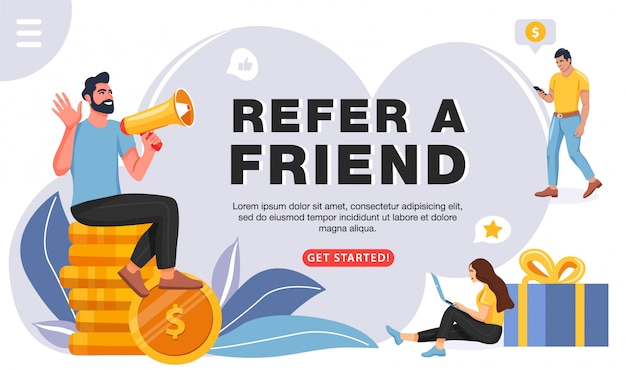 Refer a friend concept, template for website