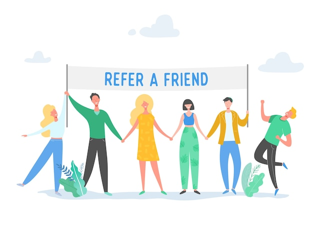 Refer a friend concept with banner and business character people holding sign, smiling man and woman illustration. friendship, leadership, business team, social diversity concept