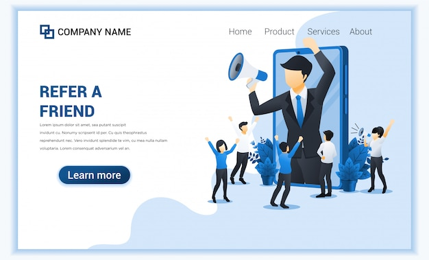 Refer a friend concept with businessman shout on megaphone for referral program.