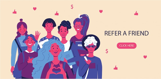 Refer a friend concept with a group of happy friends waving at the camera.